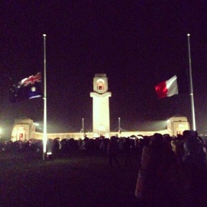 Anzac Day Dawn Service at the Australian National Memorial, Villers-Bretonneux