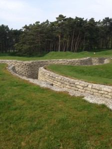 Preserved trenches at the Canadian WWI Memorial at Vimy Ridge in the Somme Valley.