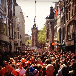 The crowd in Amsterdam on King's Day 2015