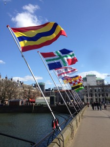 Provincial flags outside the Dutch Parliament.