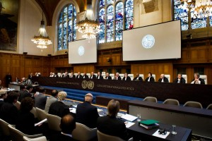 The ICJ sits in The Great Hall of Justice at the Peace Palace in The Hague.
