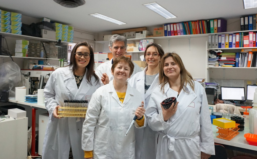 This is a photo with my colleagues from the LYOS research team in Lyon, France. This laboratory is inside the Rheumatology Department of the largest hospital in Lyon - the Hôpital Edouard Herriot. From left to right: Me, Dr Olivier Borel, Dr Evelyne Gineyts, Dr Stephanie Boutroy, and Dr Cindy Bertholon.